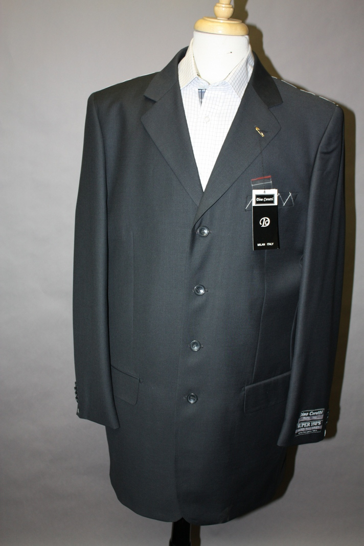 GIANNI  MENS CHARCOAL WOOL SUIT 3 BUTTON.SUPER 120'S EXTRA FINE 2PC.